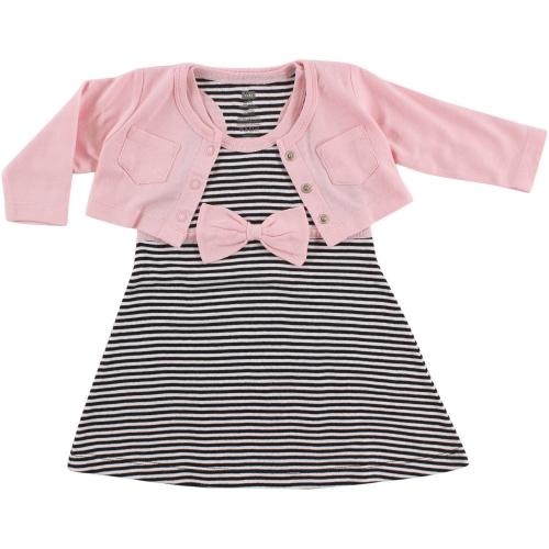 de225a851 Hudson Baby Cropped Cardigan & Racerback Dress - Pink and Black
