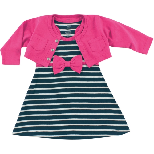 bff26fe03 hudson baby cropped cardigan & racerback dress - navy and pink
