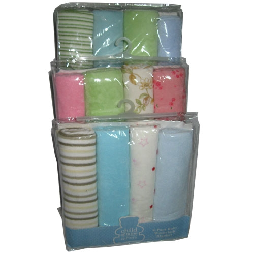 4-Pack Flannel Receiving Blanket Set