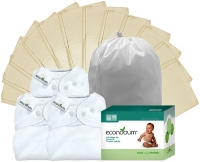 Econobum Kit - 3 Diaper Wraps/12 Prefolds (White Only)