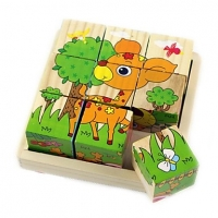 Wooden Animal Block Puzzle with 6 Different Puzzle Pictures - 9 Pcs