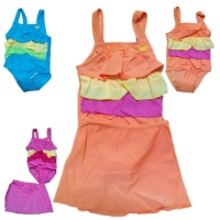 Girl's One-piece Swimsuit with Skirt Wrap