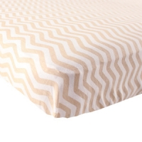 LUVABLE FRIENDS FITTED KNIT SHEET, TAN CHEVRON