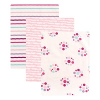 LUVABLE FRIENDS 3 PACK FLANNEL RECEIVING BLANKETS, DOTS