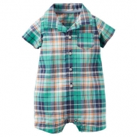 Plaid Button-Front Romper