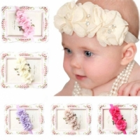 Baby Girls Headbands - Three Flowers with Rhinestones