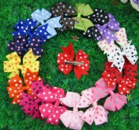 "3"" Polka Grosgrain Ribbon Hair Bow Clips"