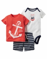 Carters 3-Piece Bodysuit & Shorts Set