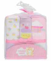 Snugly Baby Girls Hooded Towels 3-pack (Cupcake Time)