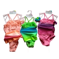 Girl's One-piece Swimsuit with Wrap &  Hair Scrunchie