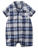 Carters Plaid Button-Front Romper