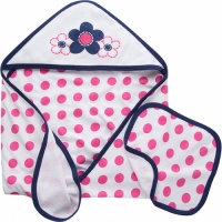 Gerber Girls 2-piece Terry Hooded Towel and Washcloth Set