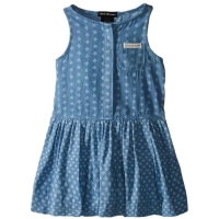 Calvin Klein Girls' Stretch Jersey Dress with Printed Denim Skirt