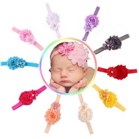 Baby Girl Headbands with Two Flowers and Rhinestones