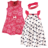 3 Piece Dress and Headband Set - Tropical
