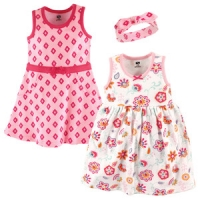 3 Piece Dress and Headband Set - Floral