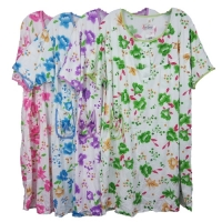 Cotton Nightgown with Short Sleeves - KL