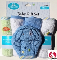 4 Washcloths & Finger Puppet Gift Set