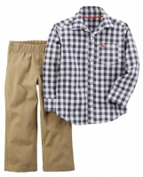 Carter' s 2 Piece Navy/ White Gingham Printed Button Down Shirt with Khaki Pant Set