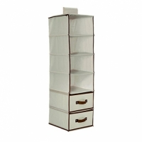 Delta Children 6 Shelf Storage with 2 Drawers, Beige