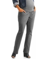 Maternity Four Pocket Demi-Panel Career Pants - Grey