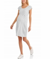Maternity Short Sleeve Scoop Neck Polka Dot Dress with Drawstring Waist
