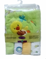 Hooded Towel with 4 Washcloths