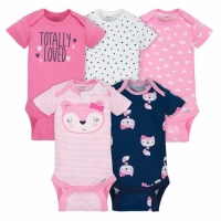 Gerber 5-pack Girls Fox Onesies® Brand Short Sleeve Bodysuits - Pink Fox