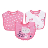 Gerber 3pk Terry Dribbler Bib - Girl - Pink Fox