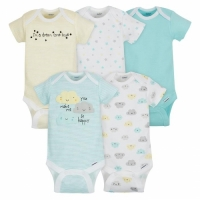 Gerber 5-Pack Neutral Cloud Onesies® Brand Short Sleeve Bodysuits