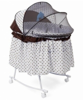 Baby Bassinet With Rocking Function And Mosquito Net