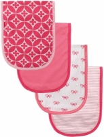 Luvable Friends 4 Piece Curved Burp Cloth, Bows and Flowers
