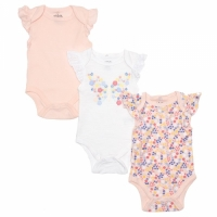 Baby Girls 3-pack Butterfly Flutter Sleeve - Chick Pea