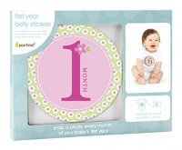 Pearhead First Year Monthly Milestone Photo Sharing Baby Belly Stickers, 1-12 Months, Blue