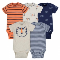 Gerber 5-Pack Newborn Boys' Tiger Onesies