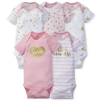 Gerber 5-pack Girls Fox Onesies® Brand Short Sleeve Bodysuits - Princess Castle