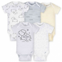 Gerber 5-Pack Neutral Lamb Onesies® Brand Short Sleeve Bodysuits