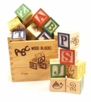 3-D Wood Alphabet Puzzle Set, 26 Pieces