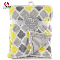 Crib Mates Fluffy Blanket  - Yellow/Grey/White Diamond