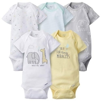 Gerber 5-Pack Neutral Elephant Onesies Brand Short Sleeve Bodysuits