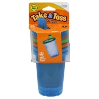The First Years Learning Curve Take & Toss Cups, Spill Proof, 10 Oz, 9M+, 4 cups