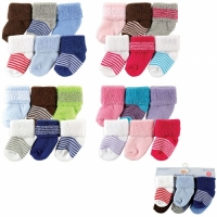 Luvable Friends Newborn Baby Socks 6 Pack, 0-6 Months