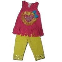 Girl's Legging Sets - Heart with Rhinestone